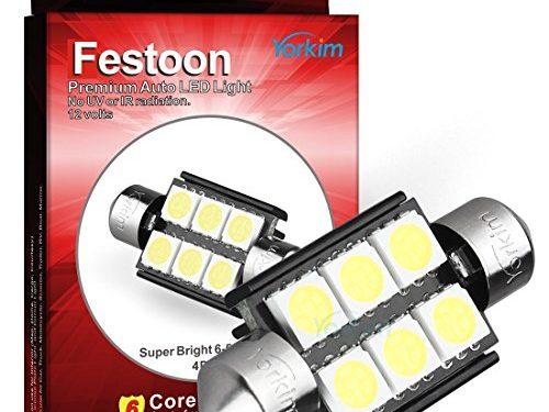 Yorkim ® LED Light Bulb, 4pcs White Error free Light 36mm 5050 6-SMD 12V Festoon LED for 3021 DE3021 6411 6413 6418 DE3423 DE3425 Pack of 4