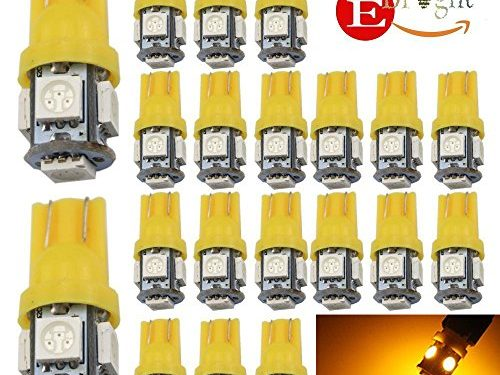 EverBright 20PCS Yellow T10 / 194 168 W5W 5 SMD 5050 LED Bulb Suitable For Car Replacement Lights Clearance Wedge / License Plate / Instrument Lamp Door / Width / Reading Light Interior Lamp Car Replacement Lights Bulb for All T10 Interface