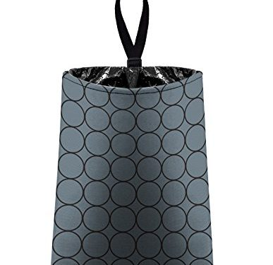litter bag/garbage can for your car – Auto Trash Grey and Black Rings by The Mod Mobile