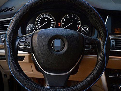 Car Leather Steering Wheel Cover Universal Breathable Anti-slip Wheel Sleeve Protector Black+Blue