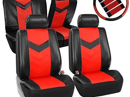 FH GROUP FH-PU021115 Synthetic Leather Full Set Auto Seat Covers w. Steering Wheel Cover & Seat Belt Pads, Red Black Color- Fit Most Car, Truck, Suv, or Van
