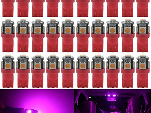 Best Value – AMAZENAR 30-Pack Pink Replacement Stock # 194 T10 168 2825 W5W 175 158 Bulb 5050 5 SMD LED Light ,12V Car Interior Lighting For Map Dome Lamp Trunk Dashboard Parking Lights