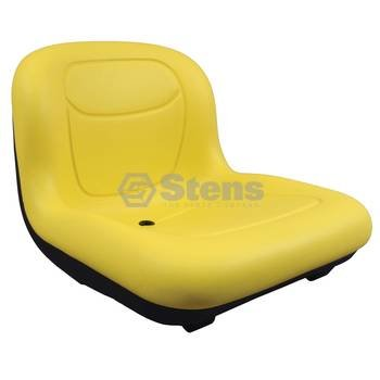 Stens 420-182 High Back Seat, Used with John Deere Mowers and Tractors, waterproof vinyl, central drain, 15-1/2″ x 18″ x 21-11/16″, Yellow