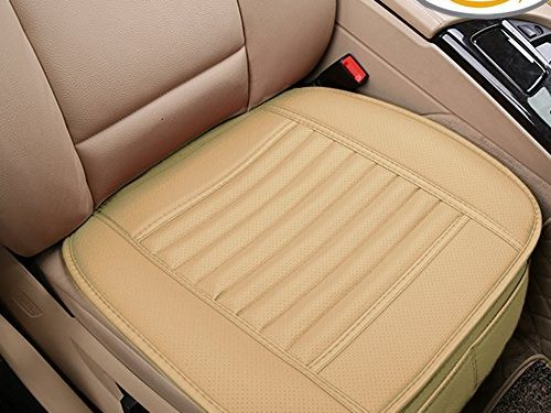 Car Seat Cushion, 2PC Breathable Car Interior Seat Cover Cushion Pad Mat for Auto Supplies Office Chair with PU Leather Bamboo Charcoal Beige