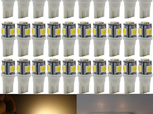 AMAZENAR 30-Pack Warm White Replacement Stock # 194 T10 168 2825 W5W 175 158 Bulb 5050 5 SMD LED Light ,12V Car Interior Lighting For Map Dome Lamp Trunk Dashboard Parking Lights – Best Value