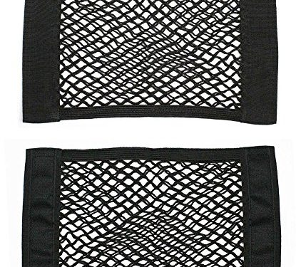 Yosoo 2 Pack Black Magic Adhesive Storage Net Elastic String Net Mesh Storage Pocket for Bottles, Groceries, Storage Add On Organizers for Car Truck