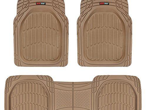 Motor Trend FlexTough Contour Liners – Heavy Duty Deep Dish Rubber Floor Mats in Beige Tan