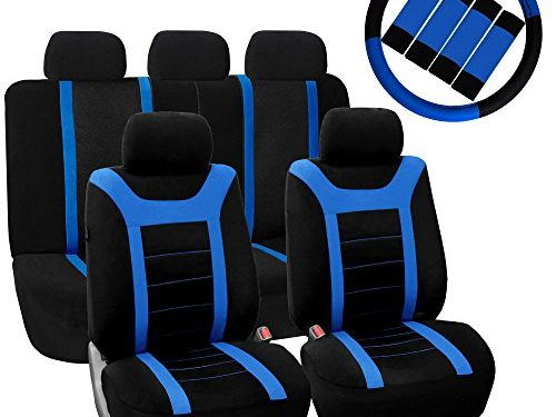 FH GROUP FH-FB070115+FH2033 Sports Fabric Car Seat Covers, Airbag compatible and Split Bench with Steering Wheel Cover, Seat Belt Pads Blue- Fit Most Car, Truck, Suv, or Van