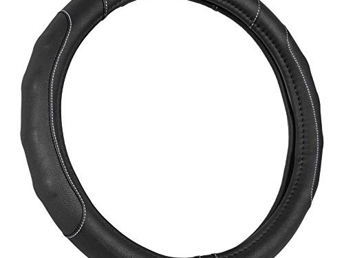 Motor Trend GripDrive Synthetic Leather Auto Car Steering Wheel Cover Black w/ Gray Accent Stitching Comfort Grip – Standard 15 inch