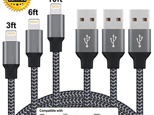 Cablex iPhone Charger 3Pcs 3ft 6ft 10ft Nylon Braided 8Pin Lightning to USB Cable Cord Charger Compatible with iPhone 7 7 Plus 6 6s 6 plus 6s plus, iPhone 5 5s 5c,iPad, iPod and MoreBlack