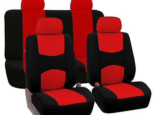 FH Group Universal Fit Full Set Flat Cloth Fabric Car Seat Cover, Red/Black FH-FB050114, Fit Most Car, Truck, Suv, or Van