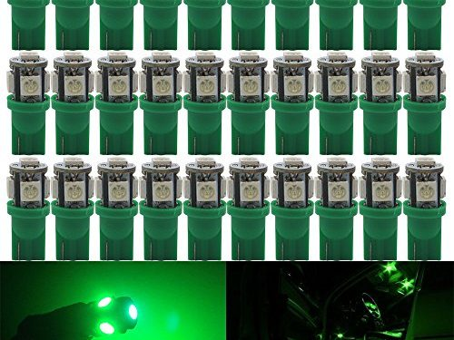 AMAZENAR 30-Pack Green Replacement Stock # 194 T10 168 2825 W5W 175 158 Bulb 5050 5 SMD LED Light ,12V Car Interior Lighting For Map Dome Lamp Trunk Dashboard Parking Lights – Best Value