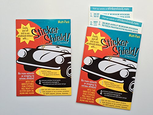 STICKER SHIELD – 2 packs of 4 inch x 6 inch sheets Total of 4 sheets – Windshield Sticker Applicator For Easy Application, Removal and Re-application From Car to Car