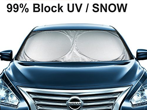 """ANTOER Car Sun Shade Travel Pouch, Large Sizes Windshield Sun Shade With 2 Ears Block Out 99% UV Rays Heat & Snow Car Sun Shade Keep Automobile Cool Easy to use 63""""x31"""""""
