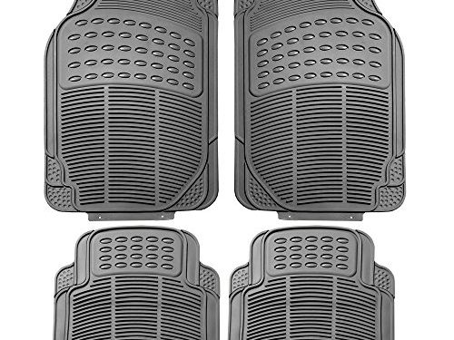 FH Group F11305GRAY Gray All Weather Floor Mat, 4 Piece Full Set Trimmable Heavy Duty