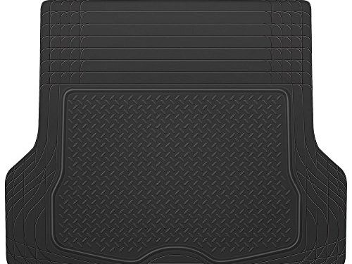 BDK Heavy Duty Rubber Cargo Floor Mat – All Weather Trunk Protection, Trimmable to Fit & Durable HD Rubber Black