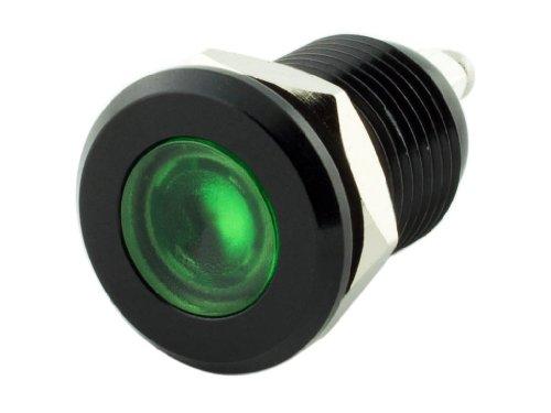 Alpinetech 12mm 1/2″ Green 12V LED Metal Indicator Pilot Custom Dash Light Lamp