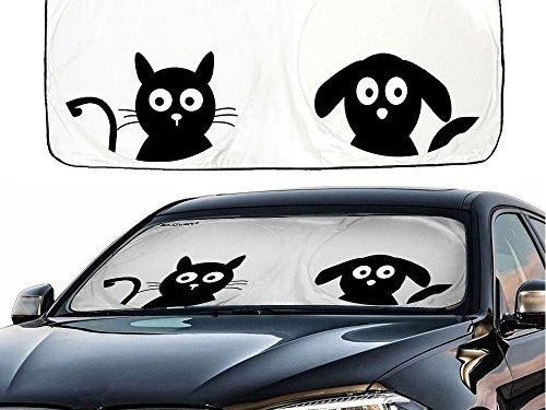 UV Coating for UV Ray Deflector 59″x33″ – Car Windshield Sunshade with Pet Design, IC ICLOVER Cute Cartoon Design Front Auto Car Windshield Sun Shade Folding Silvering Sun Visor