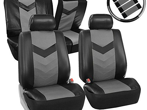 FH GROUP FH-PU021115 Synthetic Leather Full Set Auto Seat Covers w. Steering Wheel Cover & Seat Belt Pads, Gray Black Color – Fit Most Car, Truck, Suv, or Van