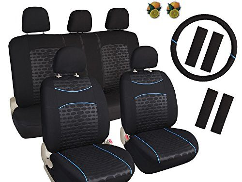 Leader Accessories Sergio Concept 17pcs Low Back Seat Covers Combo Pack Black/Blue Airbag Compatible, Split Bench, Steering Wheel Cover Included