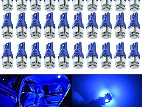AMAZENAR 30-Pack Blue Replacement Stock #: 194 T10 168 2825 W5W 175 158 Bulb 5050 5 SMD LED Light ,12V Car Interior Lighting For Map Dome Lamp Courtesy Trunk License Plate Dashboard Parking Lights