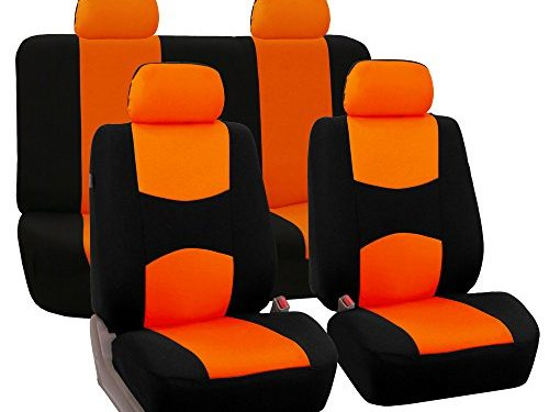 FH Group Universal Fit Full Set Flat Cloth Fabric Car Seat Cover, Orange/Black FH-FB050114, Fit Most Car, Truck, Suv, or Van
