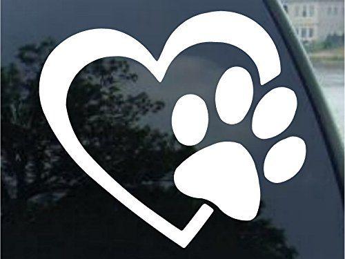 HEART with DOG PAW Puppy Love Vinyl Decal Window Sticker 6″, White