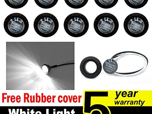 10 Pcs TMH 3/4″ Inch Mount SMOKED LENS & White LED Clearance Markers, side marker lights, led marker lights, led side marker lights, led trailer marker lights, trailer marker light