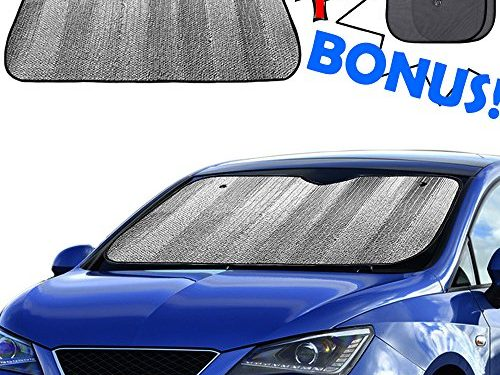 Windshield Sun Shade, Car Window Shade as Bonus by Big Hippo Keep Vehicle Cool Protect Your Car from Sun Heat & Glare Best UV Ray Visor Protector Size: 55.16″X 27.5″