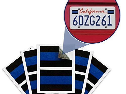 Pack of 10 – Proudly Support Police / Law Enforcement Officers 1″ x 1.5″ – Blue Lives Matter License Plate Sticker – Vinyl Decal – Tough Weatherproof Design – Reflective Cop Thin Blue Line Decals