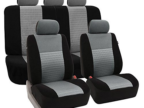 FH Group Universal Fit Full Set Trendy Elegance Car Seat Cover, Gray/Black FH-FB060115, Airbag compatible and Split Bench, Fit Most Car, Truck, Suv, or Van