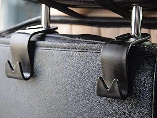 Car Headrest Hook,SOHOU 4pcs Vehicle Universal Car Back Seat Headrest Hanger Storage Hooks for Bag Purse Cloth GroceryBlack -Set of 4 black