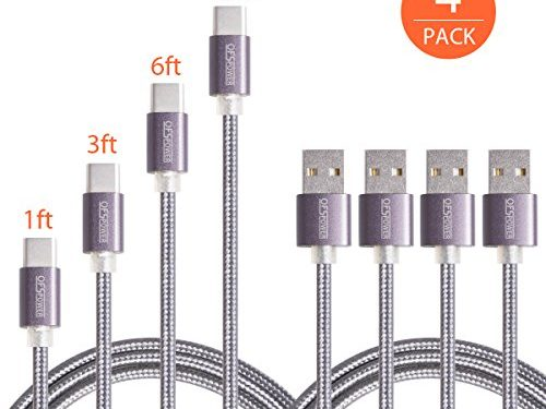Type C Cable,Ofspower 4Pack 1ft 3ft 6ft 10ft Nylon Braided USB C Data & Charging Cable with Aluminum Connector for Nexus 6P/5X, LG G5, OnePlus 2 and More Black