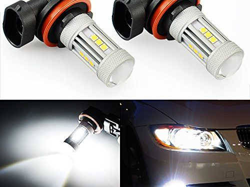 JDM ASTAR 1300 Lumens Extremely Bright 3030 Chipsets H11 LED Bulbs for DRL or Fog Lights, Xenon White H11