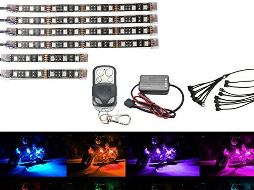 AMBOTHER 8Pcs Motorcycle LED Light Kit Strips Multi-Color Accent Glow Neon Lights Lamp Flexible with Remote Controller for Harley Davidson Honda Kawasaki Suzuki Ducati Polaris KTM BMW  Pack of 8