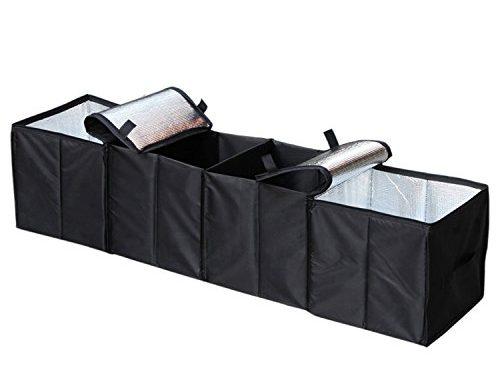 Autoark Foldable Multi Compartment Fabric Car Truck Van SUV Storage Basket Trunk Organizer and Cooler Set,Black,AK-018