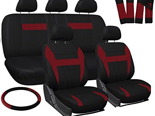 OxGord Car Seat Cover – Red/ Black fits Car, Truck, Van, SUV – Full Set