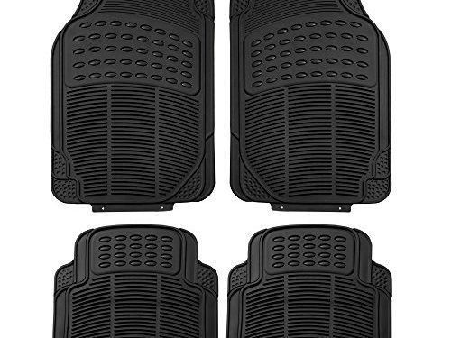 FH Group F11305BLACK Black All Weather Floor Mat, 4 Piece Full Set Trimmable Heavy Duty