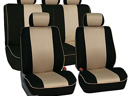 FH GROUP FH-FB063115 Full Set Sports Fabric Car Seat Covers Beige / Black, Airbag compatible and Split Bench – Fit Most Car, Truck, Suv, or Van