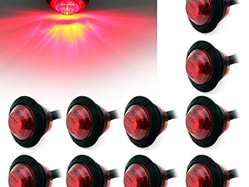 """ Purishion 10x 3/4″"" Round LED Clearence Light Front Rear Side Marker Indicators Light for Truck Car Bus Trailer Van Caravan Boat, Taillight Brake Stop Lamp 12V Red¡­"