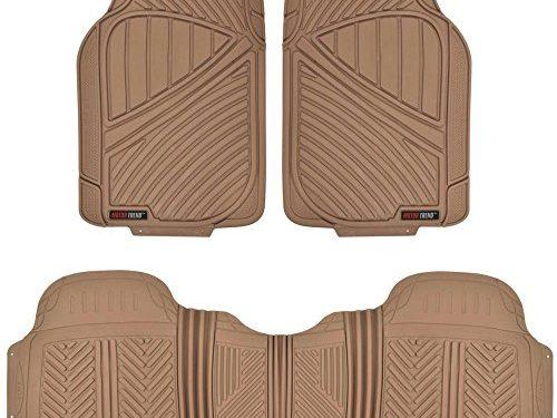 MotorTrend FlexTough Baseline – Heavy Duty Rubber Floor Mats, 100% Odorless & BPA Free Beige