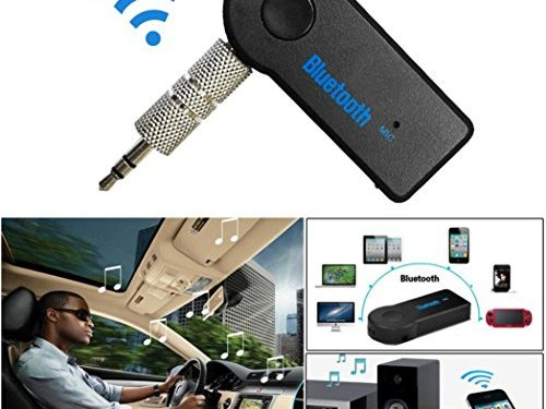 Gotd Bluetooth 3.5mm AUX Audio Stereo Music Home Car Receiver Adapter Mic Black