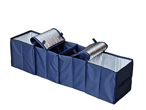 Autoark Foldable Multi Compartment Fabric Car Truck Van SUV Storage Basket Trunk Organizer and Cooler Set,Navy Blue,AK-009