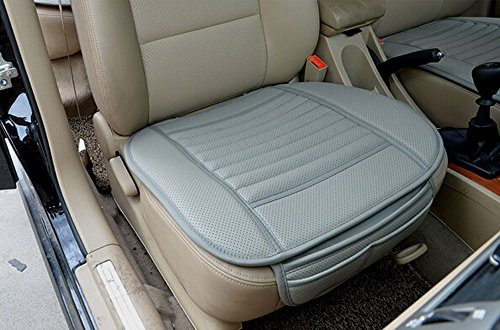 EDEALYN High Quality Four Seasons General Pu Leather Bamboo Charcoal Breathable Comfortable Car Interior Seat Cushion Cover Pad Mat for Auto Car Supplies Office Chair Gray