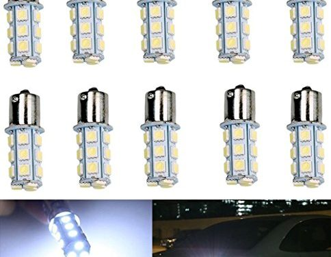 10-Pack 1156 1141 1003 18-SMD White LED Bulbs For Car Rear Turn Signal lights Interior RV Camper