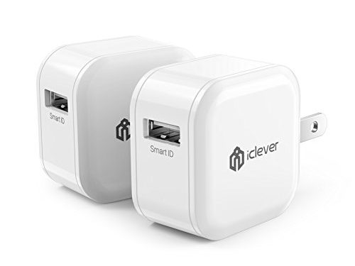 2-Pack Mini Charger iClever BoostCube 12W 2.4A USB Wall Charger Portable Travel AC Adapter with Foldable Plug for iPhone 7/6S/6/Plus, iPad Air 2/mini 3, Galaxy S7/S6 and More