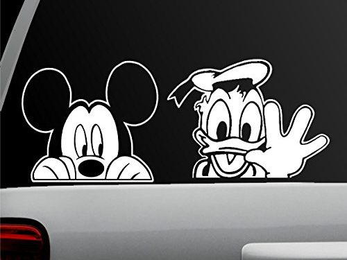 Mickey and Donald Combo – White – Window Sticker for Car, Truck, Motorcycle, Laptop, Ipad, Wall Mickey Mouse Donald Duck Combo – Auto Decal – Auto Sticker