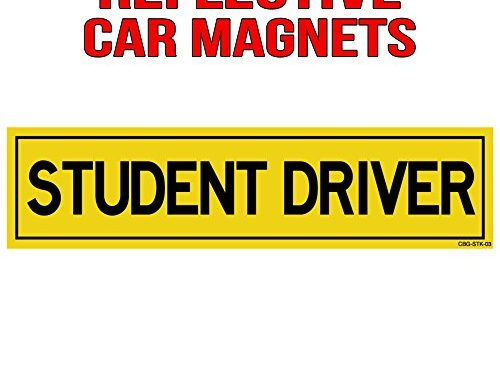 Student Driver Reflective Magnetic Sign – Perfect for New Drivers 12″x3″ Magnetic Sign 1 Pack