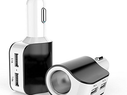AHAHOO 3.1A 15W Dual USB Car Charger Adapter with Cigarette Lighter Socket for iPhone iPad, Android Samsung, GPS