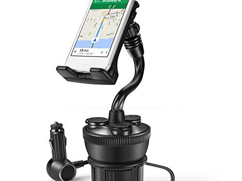 TNP Smartphone Car Mount Holder Charger Station – Universal Car Cup Holder Mount with 3 Sockets and 2 USB Charge Port 2.1A For iPhone 7, 7 Plus, 6, 6 Plus, Samsung Galaxy Android Smart Phone, Camera